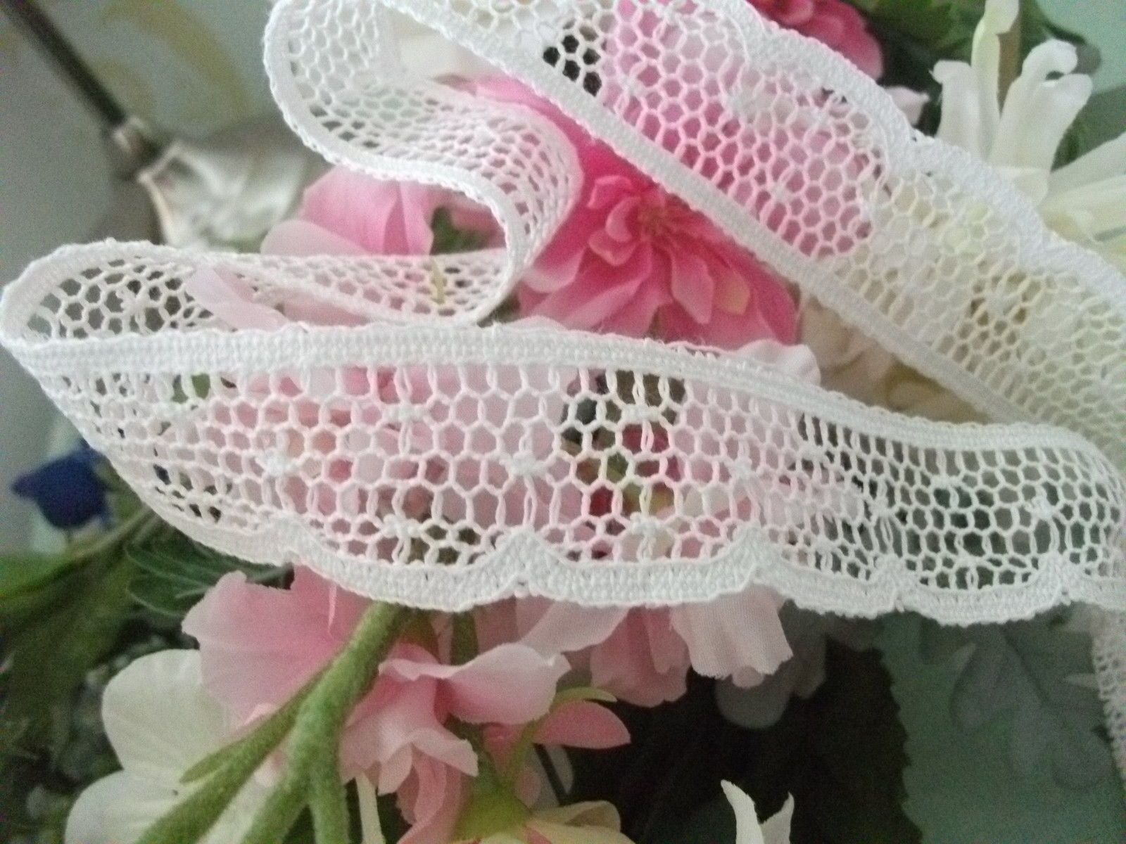 Cotton Cluny Leavers Lace Trim Off White 3 Cms Wide
